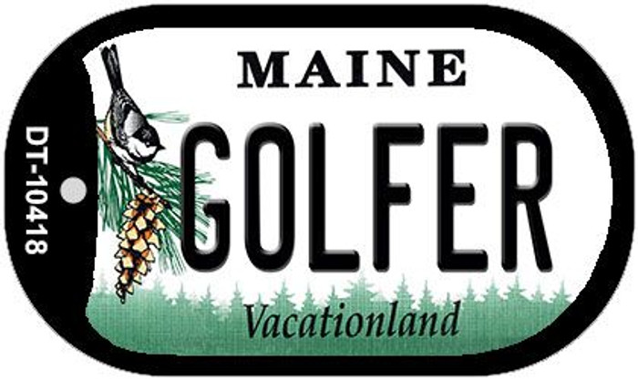 Golfer Maine Novelty Metal Dog Tag Necklace DT-10418