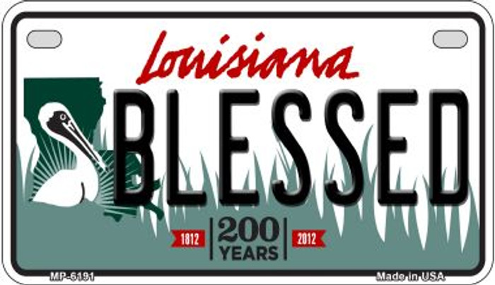 Blessed Louisiana Novelty Metal Motorcycle Plate MP-6191