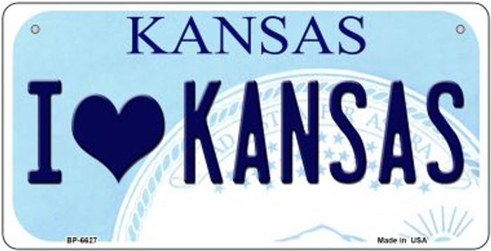I Love Kansas Novelty Metal Bicycle Plate BP-6627