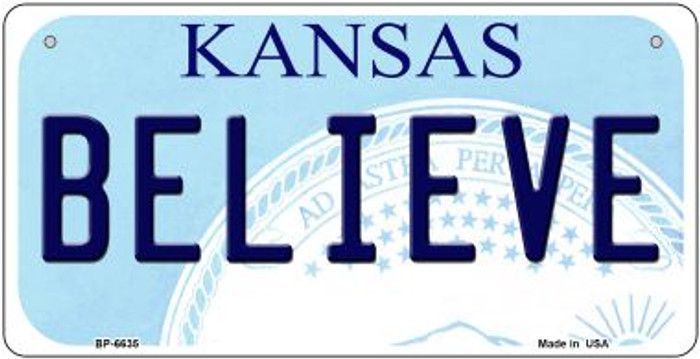 Believe Kansas Novelty Metal Bicycle Plate BP-6635