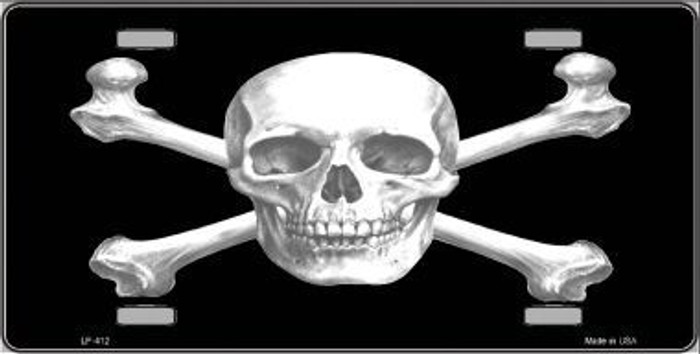 Skull And Cross Bones Metal Novelty License Plate LP-412