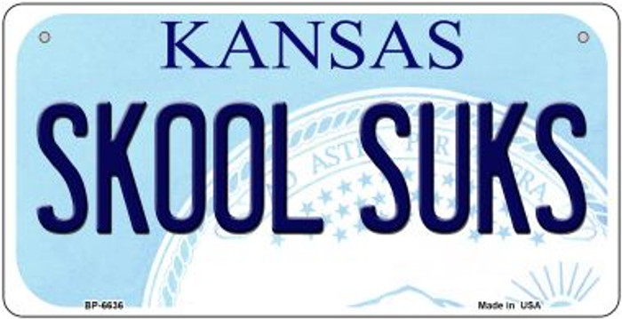 Skool Suks Kansas Novelty Metal Bicycle Plate BP-6636