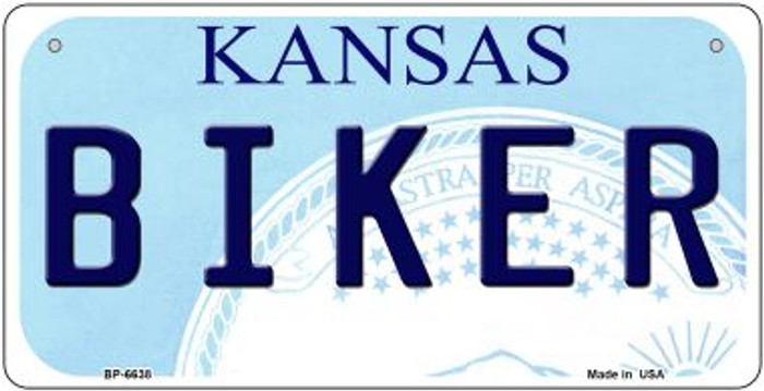 Biker Kansas Novelty Metal Bicycle Plate BP-6638
