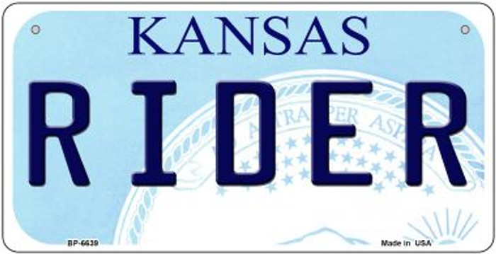Rider Kansas Novelty Metal Bicycle Plate BP-6639