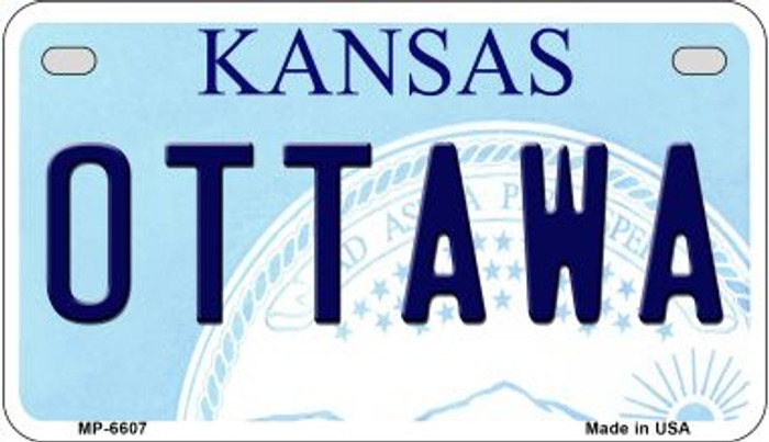 Ottawa Kansas Novelty Metal Motorcycle Plate MP-6607