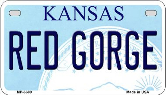 Red Gorge Kansas Novelty Metal Motorcycle Plate MP-6609