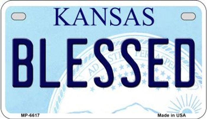 Blessed Kansas Novelty Metal Motorcycle Plate MP-6617