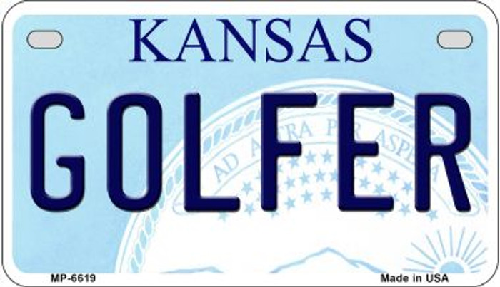 Golfer Kansas Novelty Metal Motorcycle Plate MP-6619