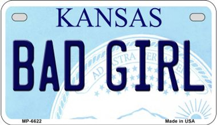 Bad Girl Kansas Novelty Metal Motorcycle Plate MP-6622