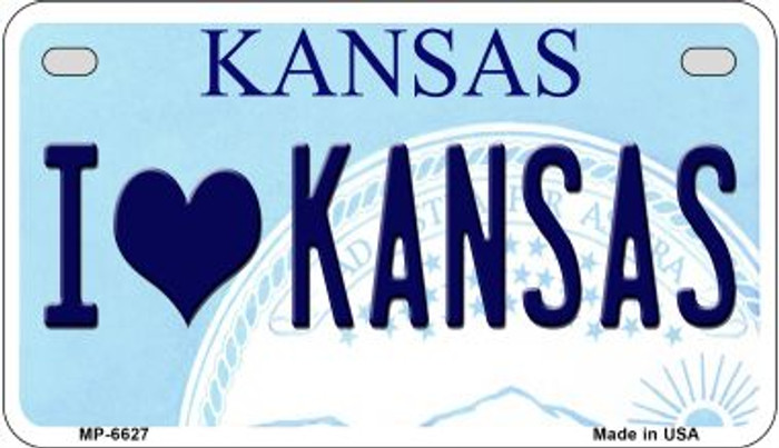 I Love Kansas Novelty Metal Motorcycle Plate MP-6627