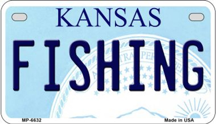 Fishing Kansas Novelty Metal Motorcycle Plate MP-6632