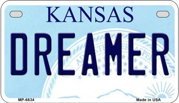 Dreamer Kansas Novelty Metal Motorcycle Plate MP-6634