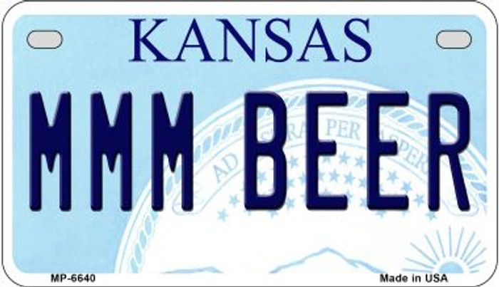 MMM Beer Kansas Novelty Metal Motorcycle Plate MP-6640
