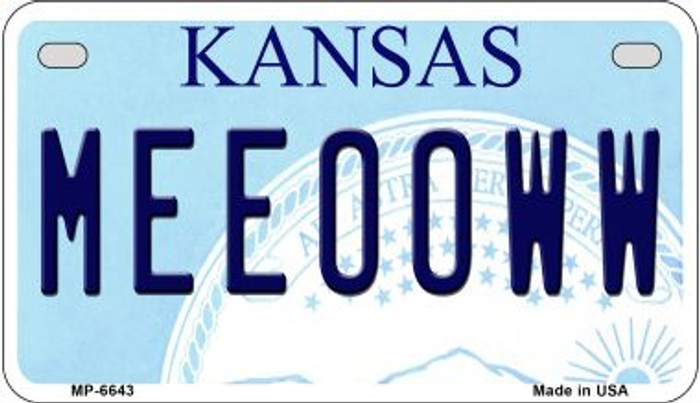 Meeooww Kansas Novelty Metal Motorcycle Plate MP-6643