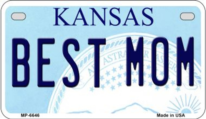 Best Mom Kansas Novelty Metal Motorcycle Plate MP-6646