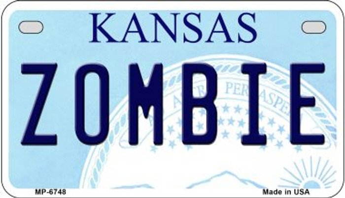 Zombie Kansas Novelty Metal Motorcycle Plate MP-6748