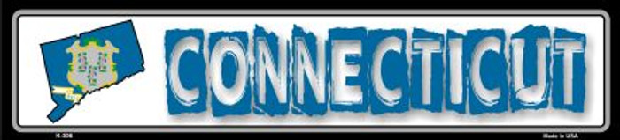 Connecticut State Outline Novelty Metal Vanity Small Street Sign