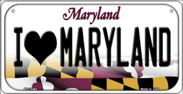 I Love Maryland Novelty Metal Bicycle Plate BP-10462