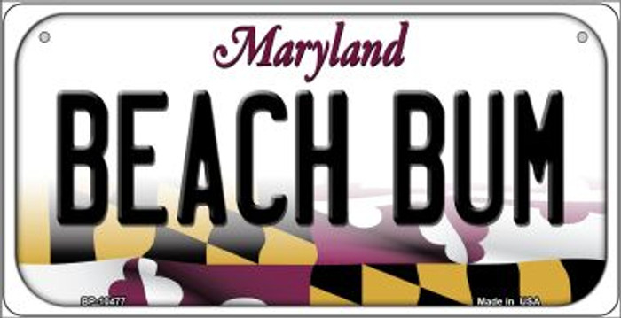 Beach Bum Maryland Novelty Metal Bicycle Plate BP-10477