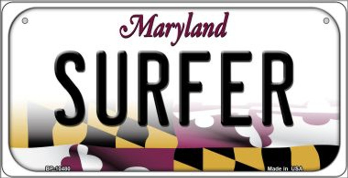 Surfer Maryland Novelty Metal Bicycle Plate BP-10480