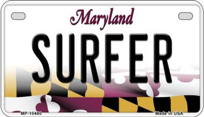Surfer Maryland Novelty Metal Motorcycle Plate MP-10480