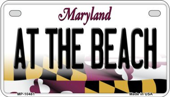 At The Beach Maryland Novelty Metal Motorcycle Plate MP-10481