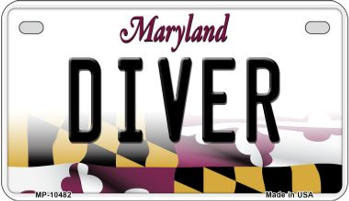 Diver Maryland Novelty Metal Motorcycle Plate MP-10482