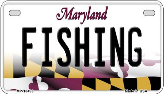 Fishing Maryland Novelty Metal Motorcycle Plate MP-10490