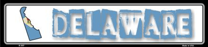 Delaware State Outline Novelty Metal Vanity Small Street Sign