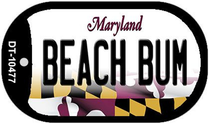 Beach Bum Maryland Novelty Metal Dog Tag Necklace DT-10477