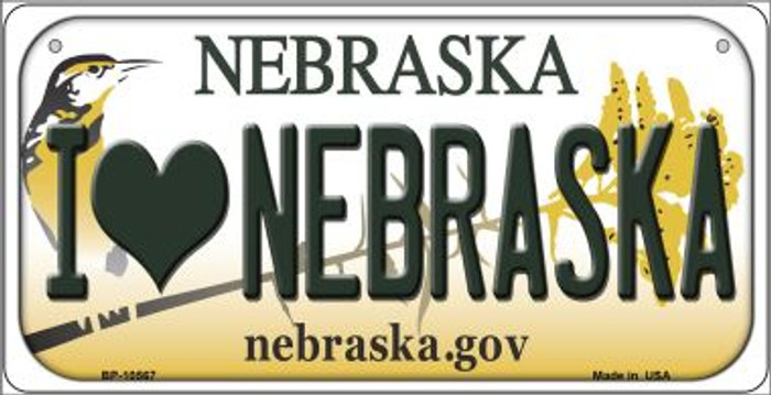I Love Nebraska Novelty Metal Bicycle Plate BP-10567