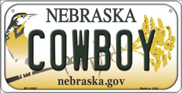 Cowboy Nebraska Novelty Metal Bicycle Plate BP-10582