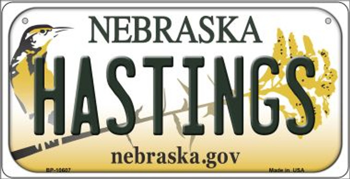 Hastings Nebraska Novelty Metal Bicycle Plate BP-10607