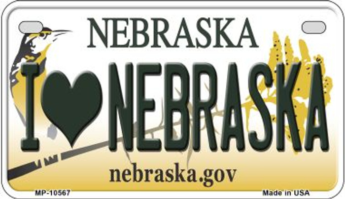 I Love Nebraska Novelty Metal Motorcycle Plate MP-10567