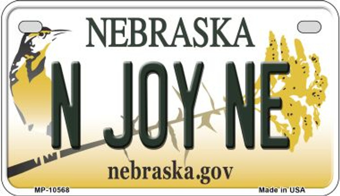 N Joy NE Nebraska Novelty Metal Motorcycle Plate MP-10568