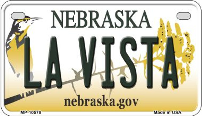 La Vista Nebraska Novelty Metal Motorcycle Plate MP-10578