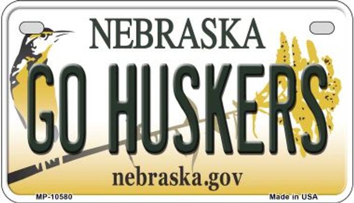 Go Huskers Nebraska Novelty Metal Motorcycle Plate MP-10580