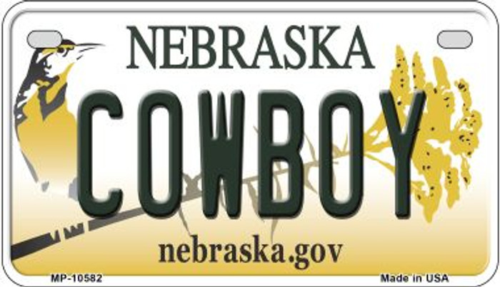Cowboy Nebraska Novelty Metal Motorcycle Plate MP-10582