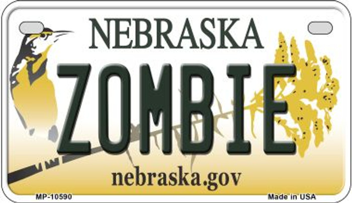 Zombie Nebraska Novelty Metal Motorcycle Plate MP-10590