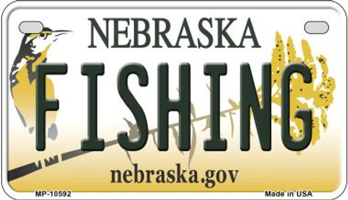 Fishing Nebraska Novelty Metal Motorcycle Plate MP-10592