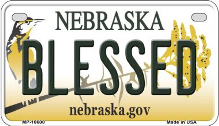 Blessed Nebraska Novelty Metal Motorcycle Plate MP-10600
