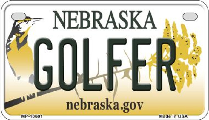 Golfer Nebraska Novelty Metal Motorcycle Plate MP-10601