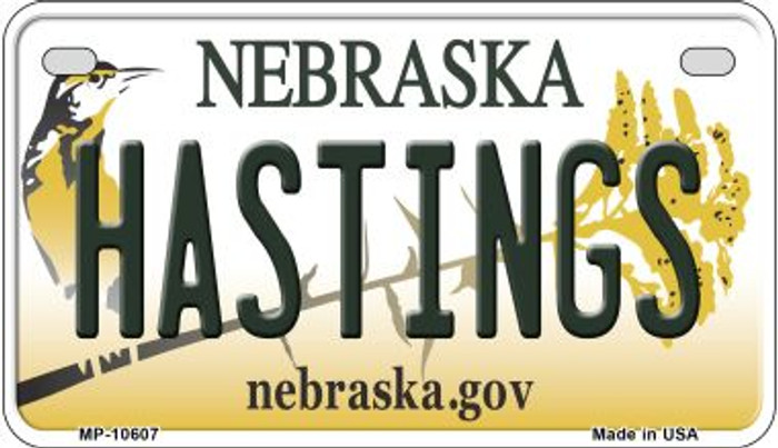 Hastings Nebraska Novelty Metal Motorcycle Plate MP-10607