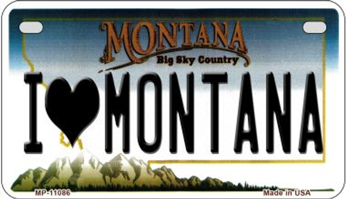 I Love Montana Novelty Metal Motorcycle Plate MP-11086