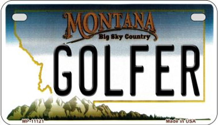 Golfer Montana Novelty Metal Motorcycle Plate MP-11121