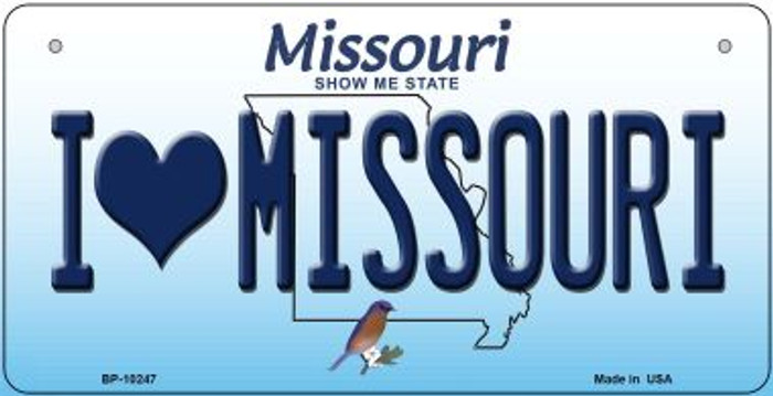 I Love Missouri Novelty Metal Bicycle Plate BP-10247
