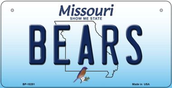 Bears Missouri Novelty Metal Bicycle Plate BP-10251