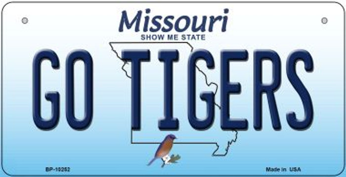 Go Tigers Missouri Novelty Metal Bicycle Plate BP-10252