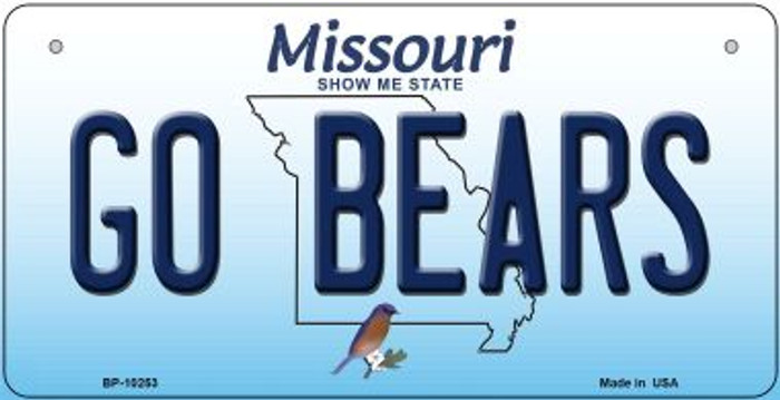 Go Bears Missouri Novelty Metal Bicycle Plate BP-10253