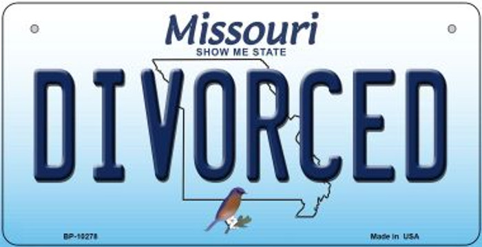 Divorced Missouri Novelty Metal Bicycle Plate BP-10278